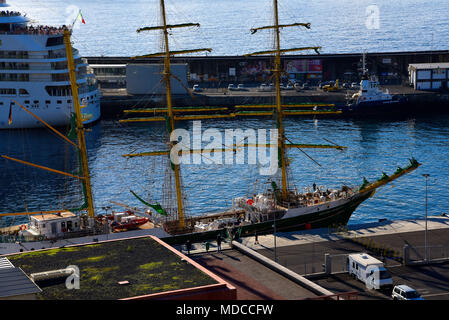 The Port where ferries and Cruise Liners Berth in Funchal Madeira Portuga, Tall Ships also dock here as do smaller craft and fishing boats - Stock Photo