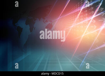 Graphical Modern Digital World News Background, Technology Communication Background. 3d Illustration, 3d Render - Stock Photo