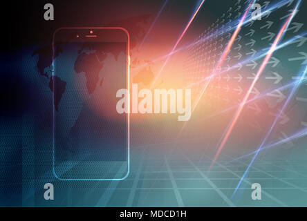 Graphical Digital World News Background with Smart phone, Technology Communication Background. 3d Illustration, 3d Render - Stock Photo