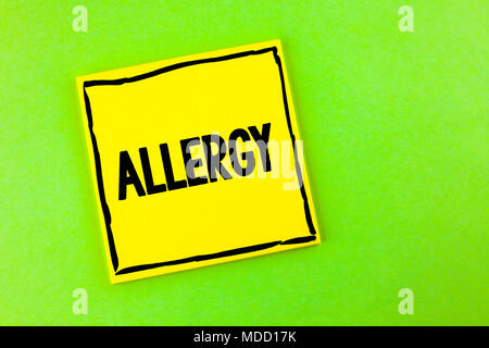 Handwriting text Allergy. Concept meaning damages in immunity due to hypersensitivity get it diagnised written Yellow Sticky Note Paper the plain back - Stock Photo