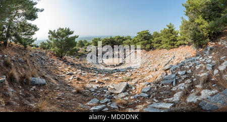 High resolution panoramic view of Ruins of ancient theater at Ancient Greek City in Priene,Soke,Aydin,Turkey - Stock Photo