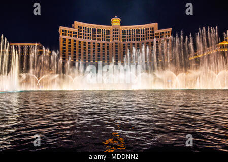 The Fountains of Bellagio at night in Las Vegas - Stock Photo