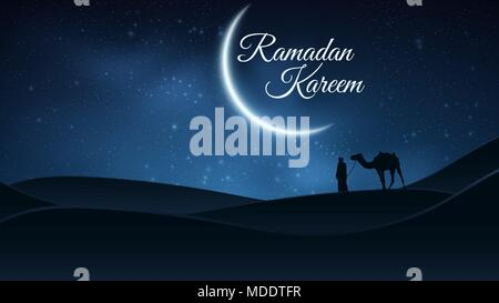 Background for Ramadan Kareem. Night landscape. Muslim Religion Holy Month. Arab stands with a camel in the desert. The starry sky. Bright moon. Vecto - Stock Photo