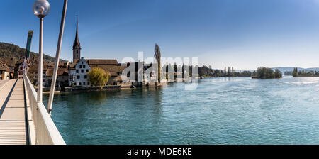 panoramic view of Stein Am Rhein and the Rhine River and Bridge - Stock Photo