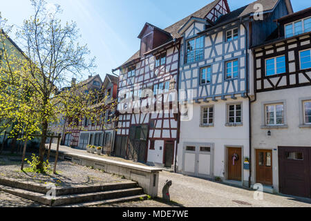 typical truss house architecture from the middle ages in the idyllic Swiss village of Stein Am Rhein - Stock Photo