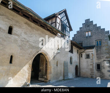 detailed view of the old monastery and convent in the idyllic Swiss village of Stein Am Rhein - Stock Photo
