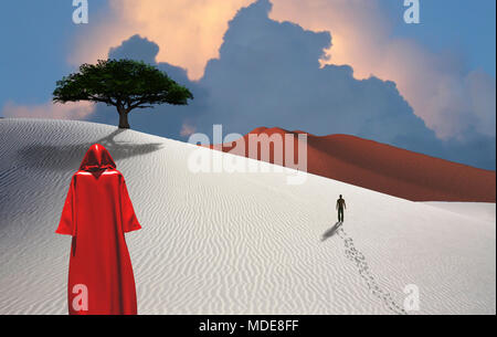Figure in cloak stands in desert. Man in a distance. Green tree. Cloudy sky. - Stock Photo