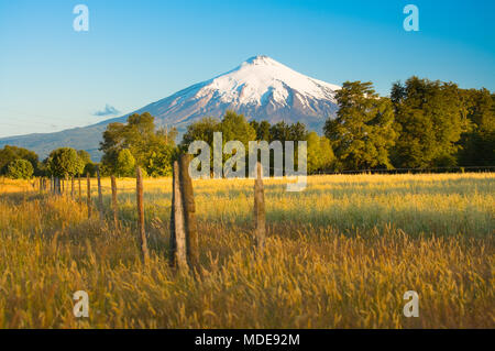 Villarrica Volcano  in the Araucania Region at southern  Chile, South America - Stock Photo