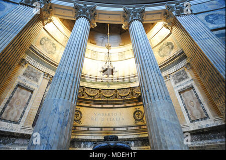 Tomb of Umberto I king of Italy in Pantheon or Basilica collegiata di Santa Maria ad Martyres (Basilica of St. Mary and the Martyrs) on Piazza della R - Stock Photo