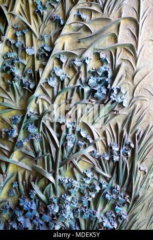 Portal of La Sagrada Familia, Barcelona, Spain (Nativity Façade, detail) - Stock Photo