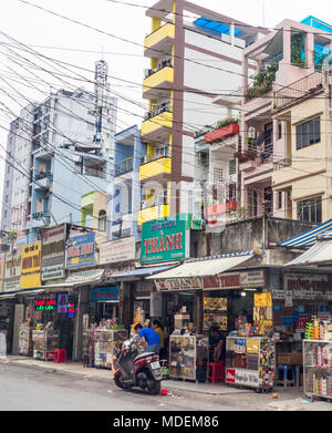 Row of shophouses and residential apartments in Ho Chi Minh City, Vietnam. - Stock Photo