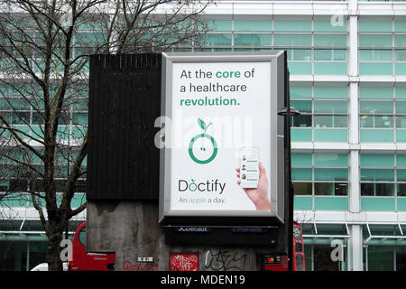 Doctify healthcare professional search app advert on a billboard in 2018 Euston London UK   KATHY DEWITT - Stock Photo