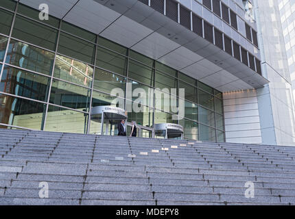 entrance of the commerzbank ag headquarters in frankfurt am main, germany - Stock Photo