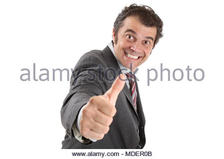 Happy middle-age businessman poses in front of white background - Stock Photo