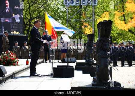 Warsaw, Poland. 19th Apr, 2018. President Andrzej Duda join commemorations on 75th Warsaw ghetto uprising together with the President of the World Jewish Congress Ronald Lauder at the Jewsih cemetry and Ghetto Heroes Monument in Warsaw. Credit: Jakob Ratz/Pacific Press/Alamy Live News - Stock Photo