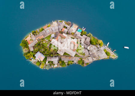 Aerial View of San Giulio island, lake Orta, northern Italy - Stock Photo