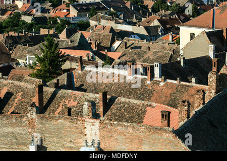 View to the roofs of the houses in the center of Sibiu, Romania - Stock Photo