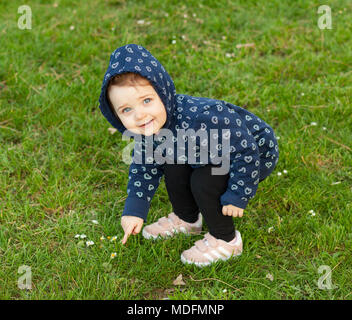 Little baby girl plays happy in the park outdoors in spring and collects daisies. - Stock Photo