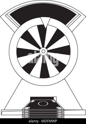 prize wheel of fortune with money bills  over white background, black and white design. vector illustration - Stock Photo