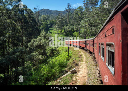 Train driving through rural landscape, Nuwara Eliya, Central Province, Sri Lanka - Stock Photo