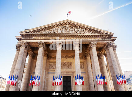 Top of the facade of the pantheon in Paris, France - Stock Photo