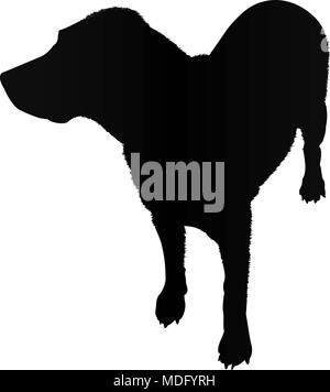 labrador dog silhouette isolated on white background vector illustration - Stock Photo
