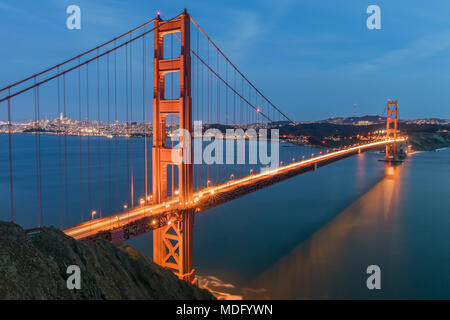 Views of the Golden Gate Bridge and San Francisco skyline from Battery Spencer. - Stock Photo