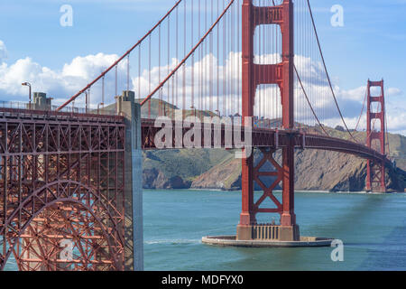 View of the Golden Gate Bridge from above Fort Point looking towards Marin Headlands. - Stock Photo