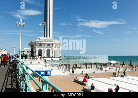 Spire of British Airways i360 observation tower in Brighton, gull in the rays - Stock Photo