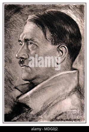 Portrait of Adolf Hitler 1938 by Karl Bauer (1868-1942) During the time of National Socialism Bauer made several portraits of Adolf Hitler. For this he was awarded the Goethe Medal for Art and Science by Hitler in 1938. - Stock Photo
