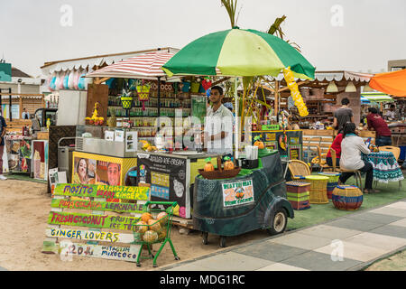 An outdoor refreshment kiosk at Kite Beach, Dubai, UAE, Middle East