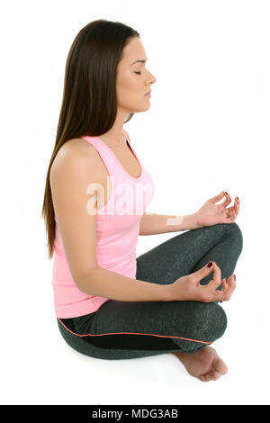 padmasana lotus position a young white girl performs a