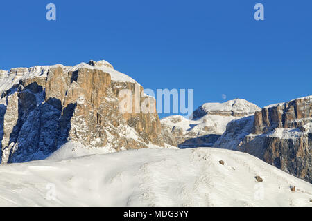 Italian Dolomites in Winter from Val di Fassa Ski Area, Trentino-Alto-Adige region, Italy - Stock Photo