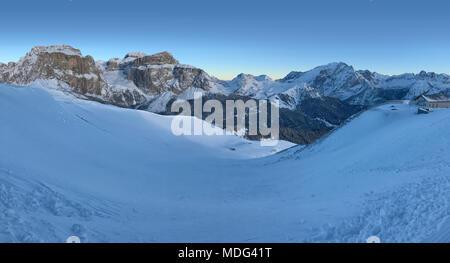 Italian Dolomites in Winter from Val di Fassa Ski Area, Trentino-Alto-Adige region, Italy - Stock Photo