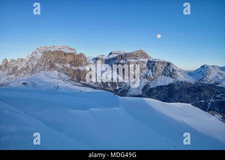 Panoramic view of the Val Di Fassa ski resort in Italy, Dolomites, Trentino-Alto-Adige region, Italy