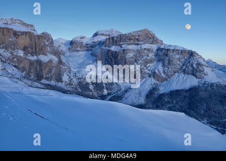 Panoramic view of the Val Di Fassa ski resort in Italy, Dolomites, Trentino-Alto-Adige region, Italy - Stock Photo