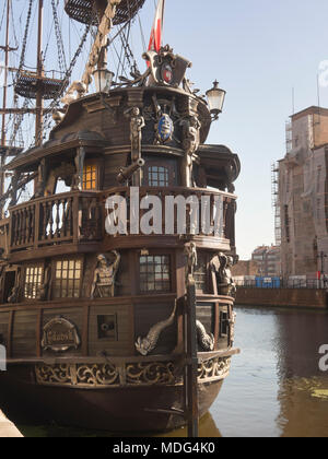 Historic vessel rebuilt for sightseeing tours on the river Motlawa and along the Baltic coast, harbour in the old town, Gdansk Poland - Stock Photo