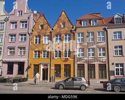 Colorful and in part decorated building facades, old and new in old style, the Main Town in Gdansk Poland is a feast for the architectural eye - Stock Photo