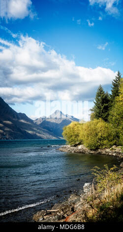 Mountains rise on all sides of Lake Wakatipu near Queenstown, South Island, New Zealand.