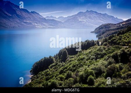 Lake Wakatipu and the road to Glenorchy, South Island, New Zealand. - Stock Photo