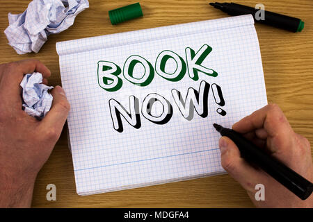 Handwriting text Book Now Motivational Call. Concept meaning Make a reservation in hotel flight accommodation - Stock Photo