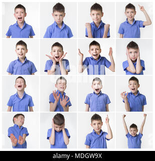 funny teenager, expressions set over white background - Stock Photo