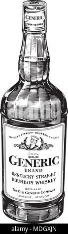 Bourbon Whiskey - Retro Clipart Illustration - Stock Photo