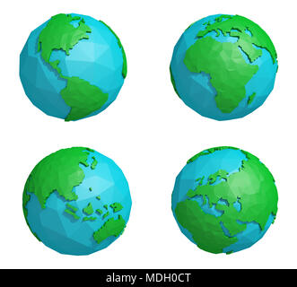 Set of low poly earth planet with four continents, polygonal globe icon, 3D rendering - Stock Photo