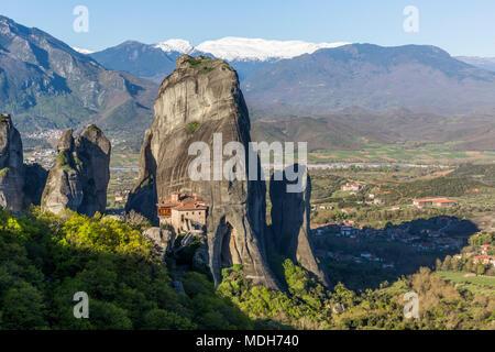 The huge rock pillars and monastery of Rousanou in Meteora, Greece