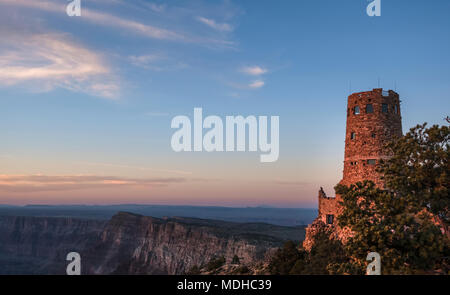 Desert View Watchtower on the East side of the Grand Canyon National Park; Arizona, United States of America - Stock Photo