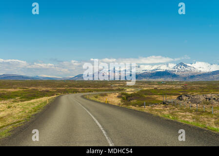 Looking along road from the Snaefellsnes peninsula to Borgarnes; Iceland - Stock Photo