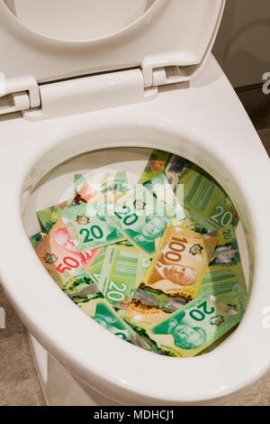 Canadian twenty, fifty and one hundred dollar bills in a white porcelain toilet bowl - Stock Photo