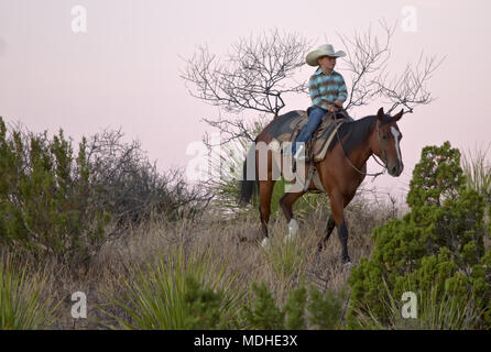 Young cowgirl looking for stray cattle on a West Texas ranch Stock Photo