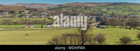 North Pennines landscape, panoramic view over the village of Middleton in Teesdale on a fine early spring morning - Stock Photo